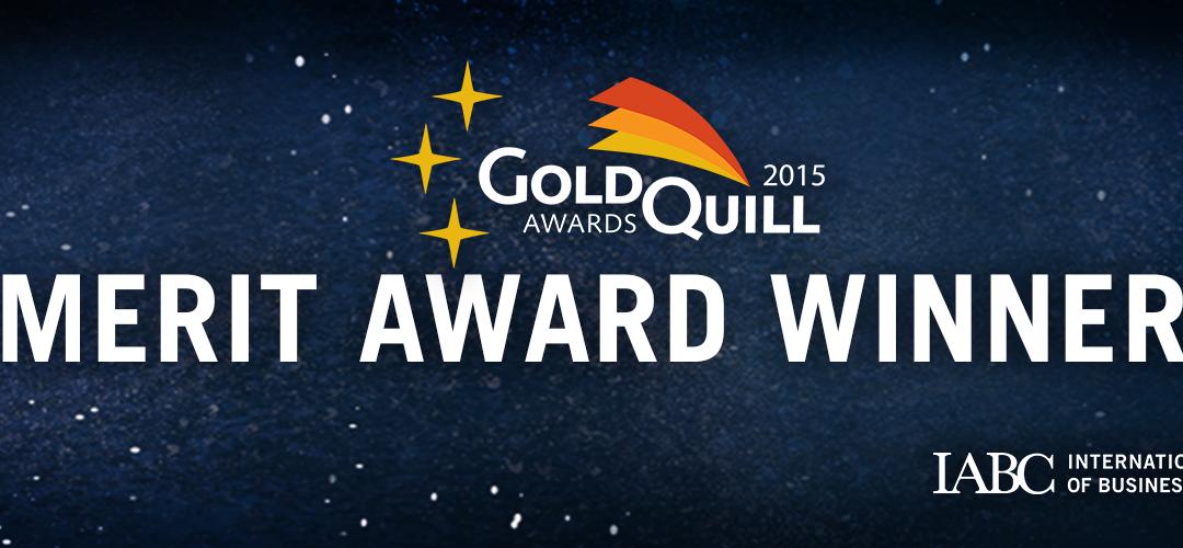 Gold Quill – Merit Award Winner 2015